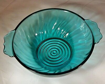 "Jeannette Glass Co. Ultramarine Teal 5"" Diameter Tab-Handled Lug Soup Bowl!"