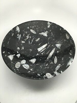 "1.87 Kilos Round Shape Black Orthoceras Fossils Bowl from Morocco,10.5"", FPS11"