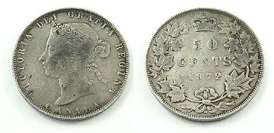 1872 H Canada 50 / Fifty Cents silver Coin - Queen Victoria - F Condition
