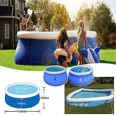 Inflatable Swimming Pool 8Ft Outdoor Garden Family Fun Kids Large Round Paddling