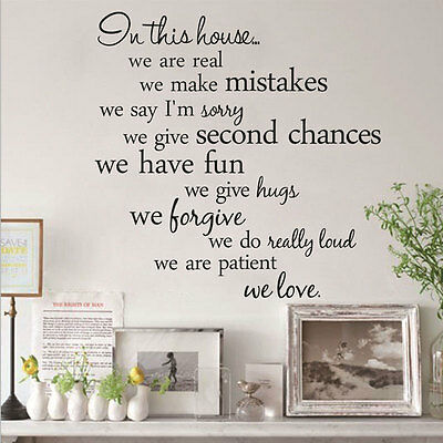 Family In This House Rules Wall Quote Decal Removable Sticker Decor Vinyl Art