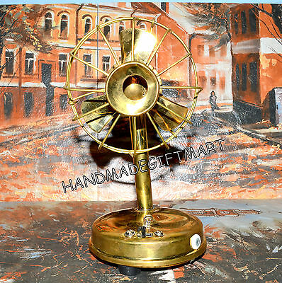 Working Small Vintage Antique Style  Brass Table Fan Battery Operated Best Gift