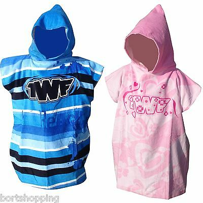 TWF Kids Hooded Poncho Towel Robe Available in Pink or Blue. Absorbent Velour