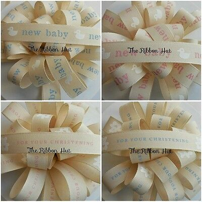 15mm New Baby Duck / For Your Christening Ribbon 4 Designs 4 Lengths Berisfords
