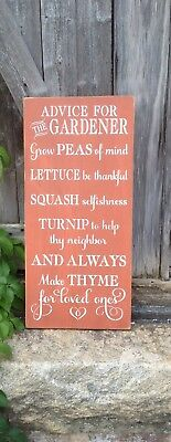 """Large Rustic Wood Sign - """"Advice For The Gardener...."""" Garden, Patio, Outdoor"""