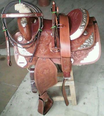 "16""silver fitting western tack pleasure show leather horse saddle headstall rein"