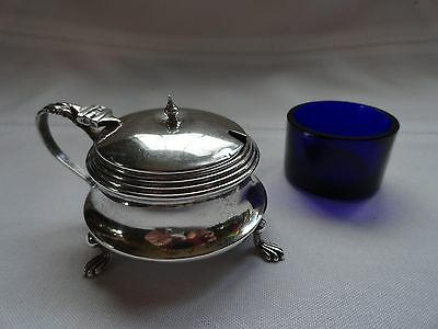 Antique Victorian Style Sterling Silver Mustard Pot  W/Cobalt Blue Insert