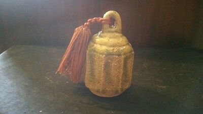 """Japanese Crotal Ceramic Bell with tassle - vintage,  4"""" tall at handle, 2 1/4"""" D"""