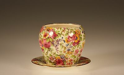 """Royal Winton """"Summertime"""" Chintz Countess Shape Jam Pot and Underplate"""