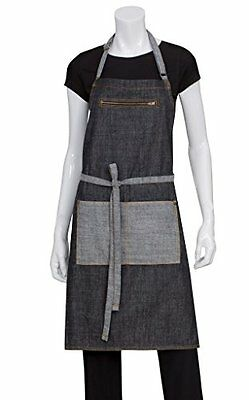 Chef Works AB034-BLK-0 Manhattan Bib Apron, Black, New, Free Shipping