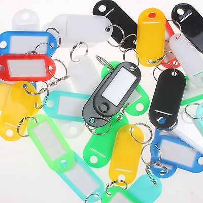 300/100/50 Plastic Key ID Labels Tags with Name Cards Split Ring Color Random