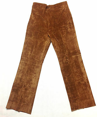 Brown Velvet Trouser Vintage Boys / Mens 1970's Leisure Pant Disco Feel 28/31