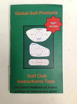 GOLF CLUB DRIVER + IRON INSTRUCTIONAL IMPACT TAPE RIGHT HANDED (training aid)