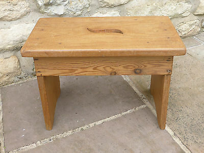 Pine Bench Stool with Oak Top & Hand Hole- Vintage