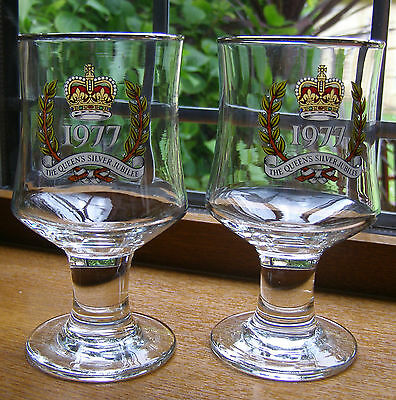 1 Pair Of The Queens 1977 Silver Jubilee Stemmed Glasses/goblets 13.5Cm Vgc.