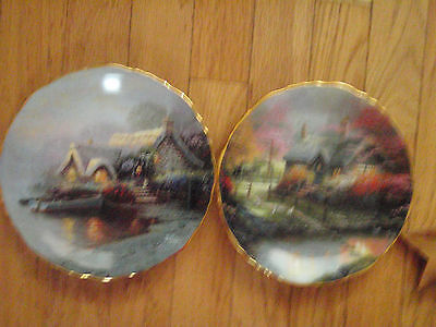 Thomas Kinkade plates set of 2 Stepping stones Collage & Lochaven Cottage roman