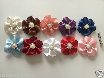 Flower Hair Clip Aligator School Girls Toddler Baby Hair Bow Baby Diamante+ Lot