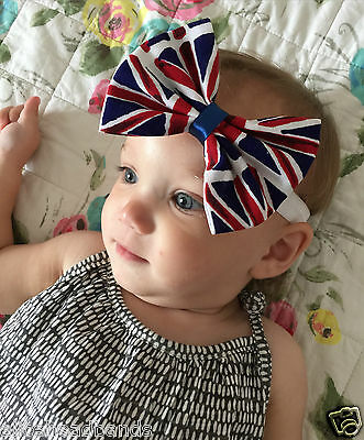 UK Flag Union Jack British Baby Girl Headband White Soft Elasticated Band