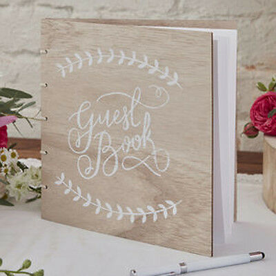 Wooden guest book -  rustic boho wedding day keepsake visitors book Ginger Ray