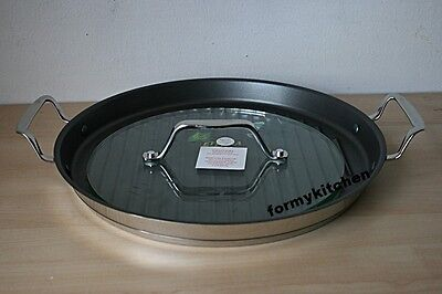 """Princess House Stainless Steel 13"""" round grill Pan & Glass Press #6985 New"""