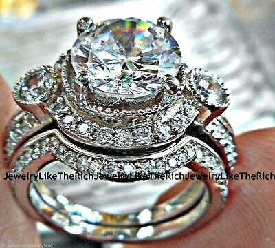 14k White Gold 925 Sterling Silver Round Diamond cut Engagement Ring Wedding Set