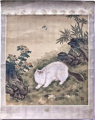 An Antique Original Signed Chinese Scroll Painting Of A Cat & Butterly