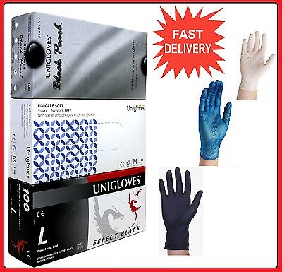 High Quality Powder Free Disposable Latex Black Nitrile Clear Blue Vinyl Gloves