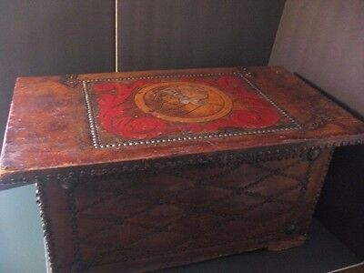Vintage Spanish Decorative Leather Wood  Collectible Trunk Chest  Conquistador