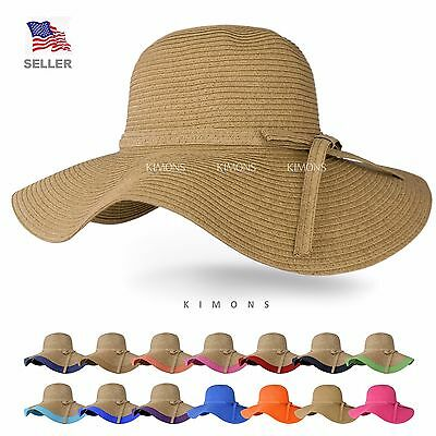 Floppy Hat Brim with Ribbon Women Folding Summer Beach Sun Straw Beach Hat