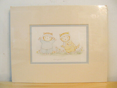 """NEW Hallmark Vintage 1987 """"Going For It"""" Cute Cats Decorative Art Plaque"""