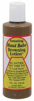 Hawaiian MAUI BABE BROWNING TANNING LOTION 4oz TravelSz Fast Dark LongLastin Tan