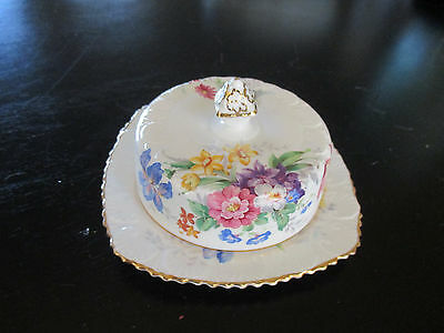 "Antique ""royal Stafford"" Porcelain Covered Butter Dish ""floralia"" , England"