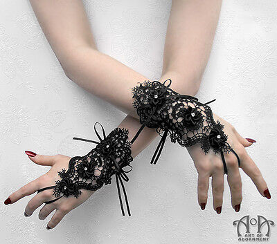 Gothic Lolita BLACK LACE FINGERLESS GLOVES Short Wrist Length Satin Ribbon G24
