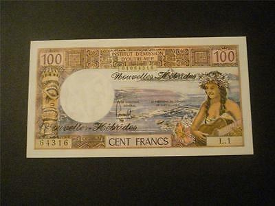 New Hebrides 100 Francs Uncirculated  Rare FREE Shipping!