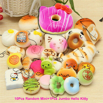 Lot Random Squishy Key Chain Jumbo Hello Kitty Panda/Bread/Buns Phone Straps Kit