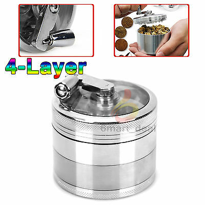 4-layer Aluminum Hand Crank Herbal Herb Tobacco Grinder Smoke Grinders Brand New