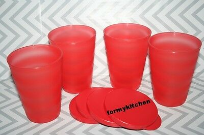 Tupperware Impressions Tumblers Set 11 oz no straw hole  Red  New