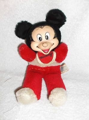 Vintage Rubber Face Mickey Mouse Stuffed Toy