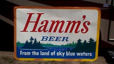 Vintage Large 68x44 Metal Hamms Beer Sign Nice one Great Graphics Cabin Decor