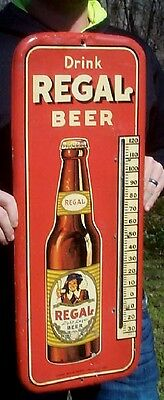 Vintage Metal Texas Regal Beer Thermometer Sign W Bottle 27x10 New Orleans Miami
