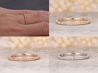 Stackable Pave Brilliant H/SI Diamond Half Eternity Wedding Band Engagement Ring