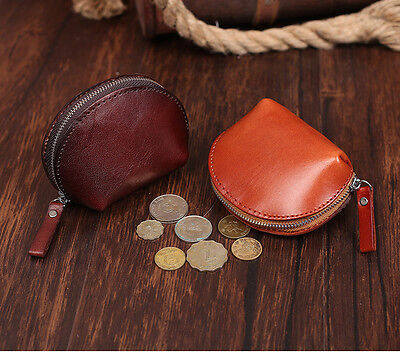 Vintage Leather Antique Shell Coin Change Purse Note Case Bag Wallets Gifts New