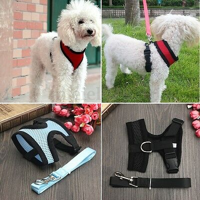 Pet Puppy Dog Soft Mesh Collar Clip Vest Strap Harness And Lead Leash Adjustable