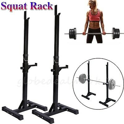 2x Squat Rack Stand Bench Press Weight Lifting Barbell Home Gym Adjustable AU