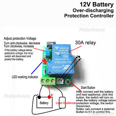 12V CAR Battery Excessive Over Discharge Protection Controller 30A Switch Board