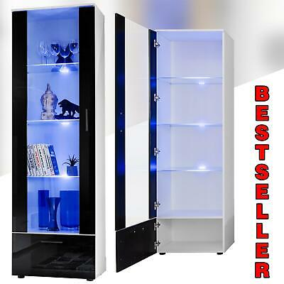 Modern Display Unit LED lights High Gloss Fronts Storage Tall Cabinet T40-192cm