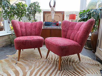 PAIR OF ORIGINAL 1960s RED VINTAGE EAST GERMAN BARTHOLOMEW COCKTAIL CHAIRS(A161)