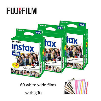 60 White Wide Sheets Fujifilm Fuji Instant Photos Film For 300 200 210 100 500AF