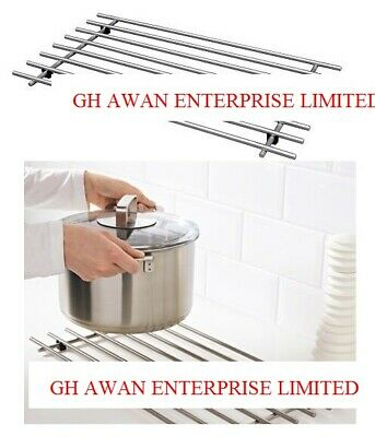 Lamplig Stainless Steel Kitchen Trivet Worktop Saver Pot Pan Stand Rack 50x28 cm