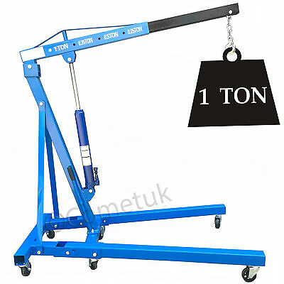 Heavy Duty 1 Ton Hydraulic Folding Workshop Engine Crane Jack Hoist Lift Stand